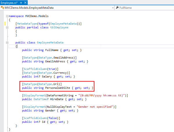 ASP Net MVC – What are the uses of DataType and